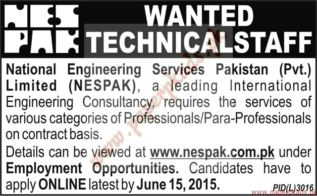 National Engineering Services Pakistan Limited Jobs - Nawaiwaqt Jobs ads 04 June 2015