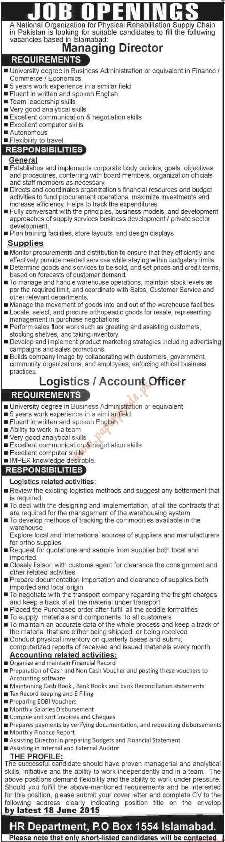 National Organization Jobs - Dawn Jobs ads 04 June 2015