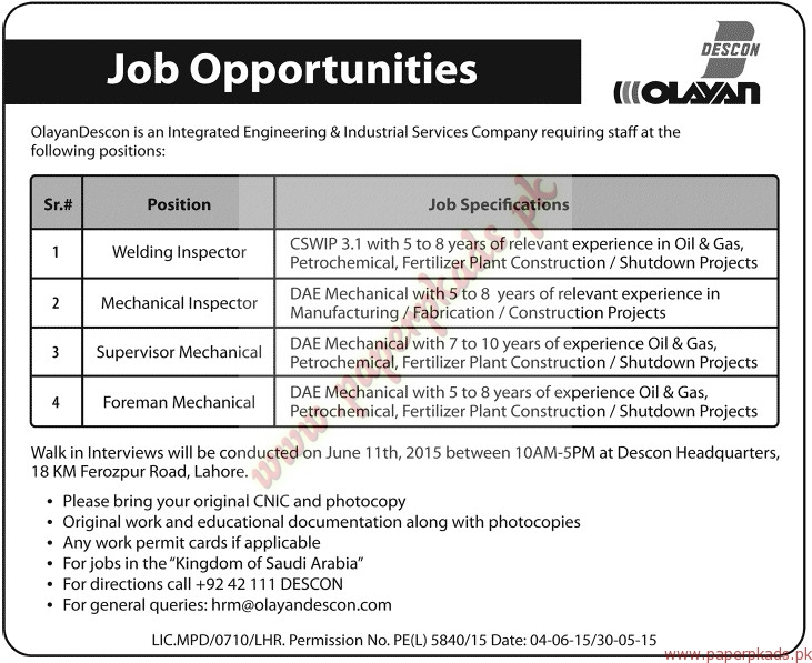 Olayan Descon Company Jobs - Jang Jobs ads 07 June 2015