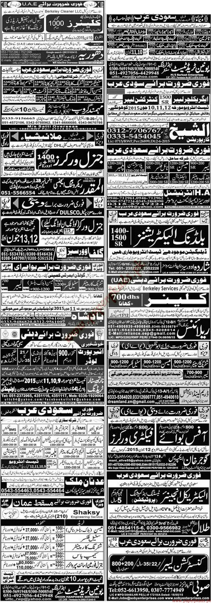 Operators, Weders, Technicians, Mechanics, Agriculture and Construction Labours, Building Carpainters, security Guards and Other Jobs - Express Jobs ads 09 June 2015