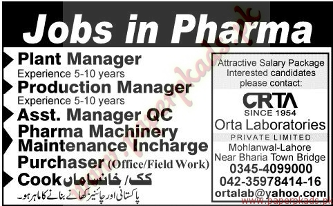 Plant Manager, Production Manager, Assistant Manager QC Phara Machinery and Other Jobs - Jang Jobs ads 07 June 2015