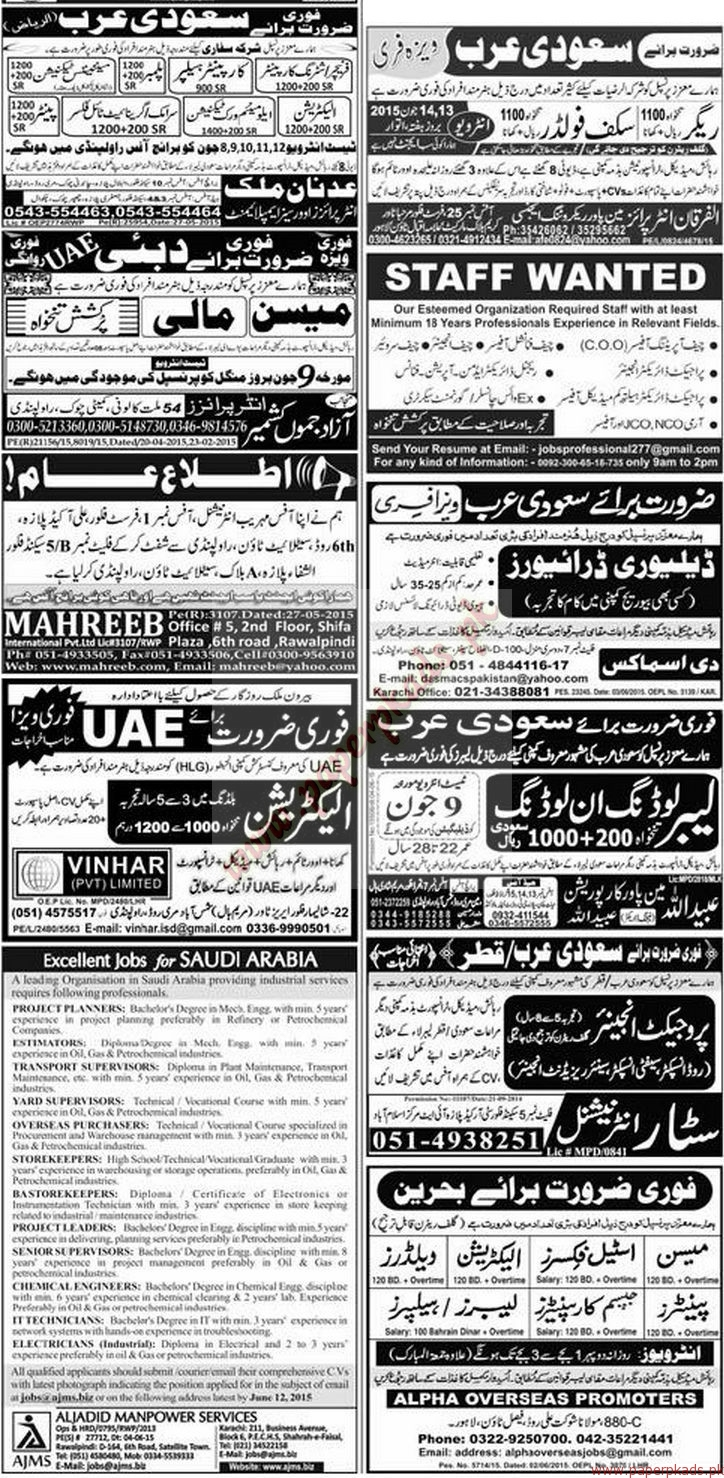 Plumbers, Technicians, Drivers, Skuff Folders, Project Planners, Supervisors, IT Technicians and Other Jobs - Express Jobs ads 07 June 2015