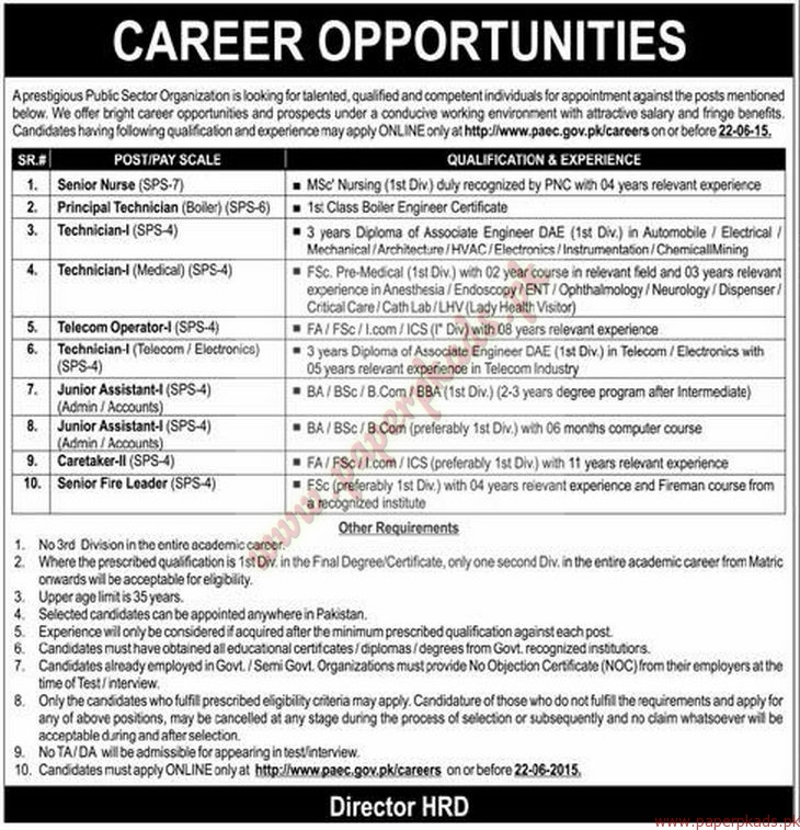 Prestigious Public Sector Organization Jobs - Express Jobs ads 07 June 2015