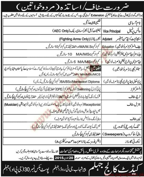 Principle, Admin Officers, Chief Instructors, Senior Teachers, Instructors and Other General Staff Required - Jang Jobs ads 07 June 2015