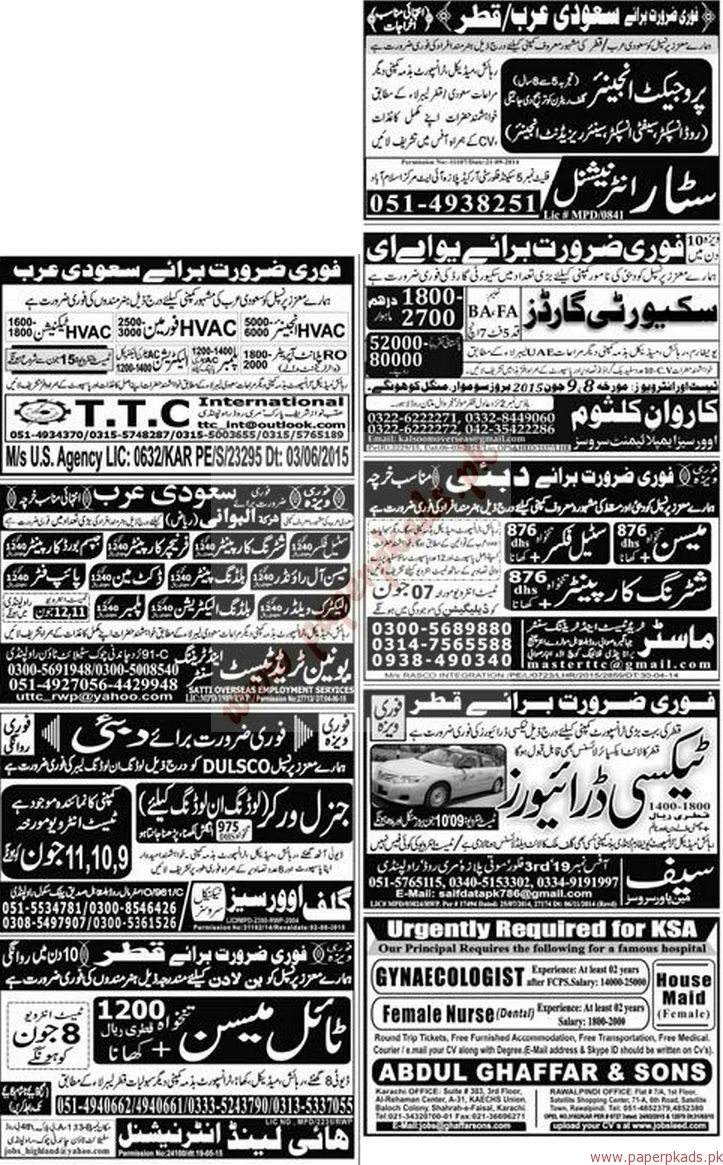 Project Engineers, Security Guards, Pipe Fitters, Electricians, Painters and Other jobs - Express Jobs ads 07 June 2015