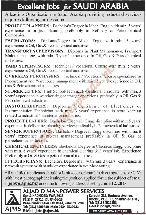 Project Planners, Estimators, Supervisors, Purchasers, Storeman, Project Leaders, Senior Supervisors, IT Technicians and Other Jobs - Jang Jobs ads 07 June 2015