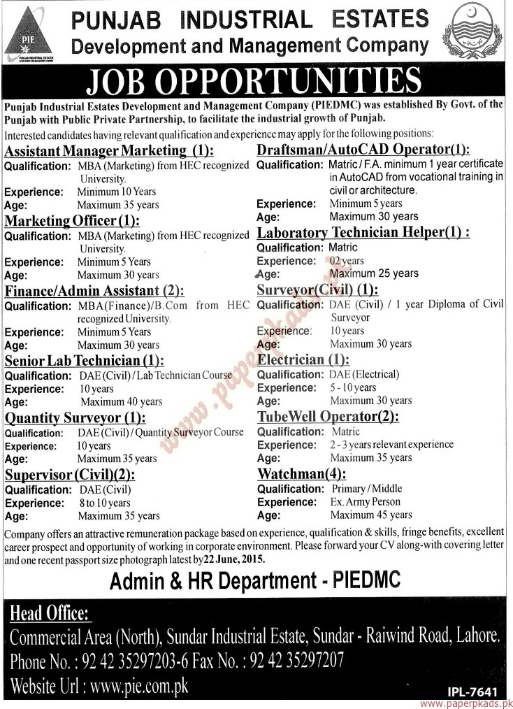 Punjab Industrial Estate Development and Management Company Jobs - Jang Jobs ads 07 June 2015