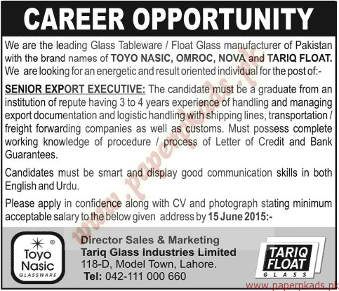 Senior Export Executives Required - Jang Jobs ads 07 June 2015