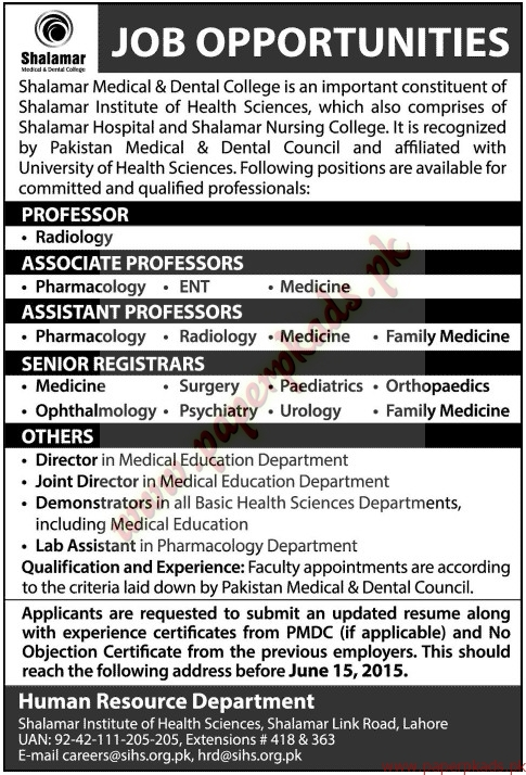 Shalamar Medical & Dental College Jobs - Jang Jobs ads 07 June 2015