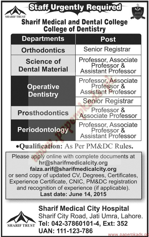 Sharif Medical and Dental College - College of Dentistry Jobs - Jang Jobs ads 07 June 2015
