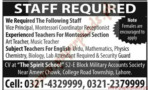 Teaching and Other Staff Required - Jang Jobs ads 07 June 2015
