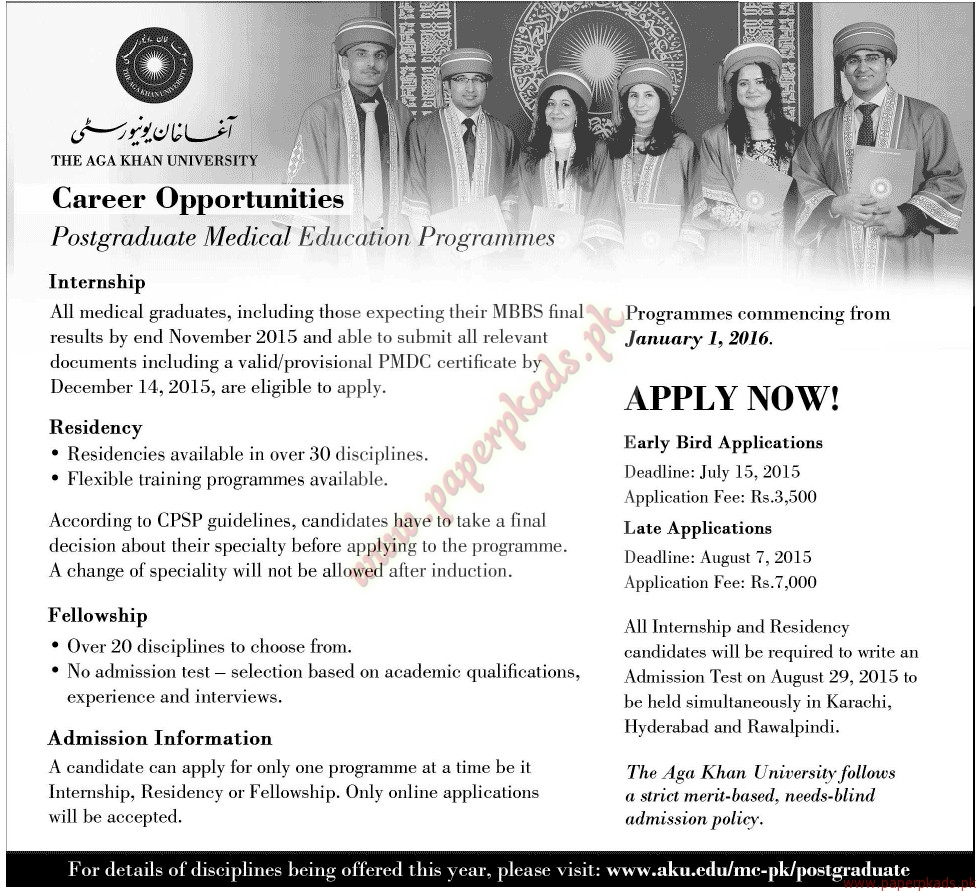 The AGA Khan University Jobs - Jang Jobs ads 07 June 2015
