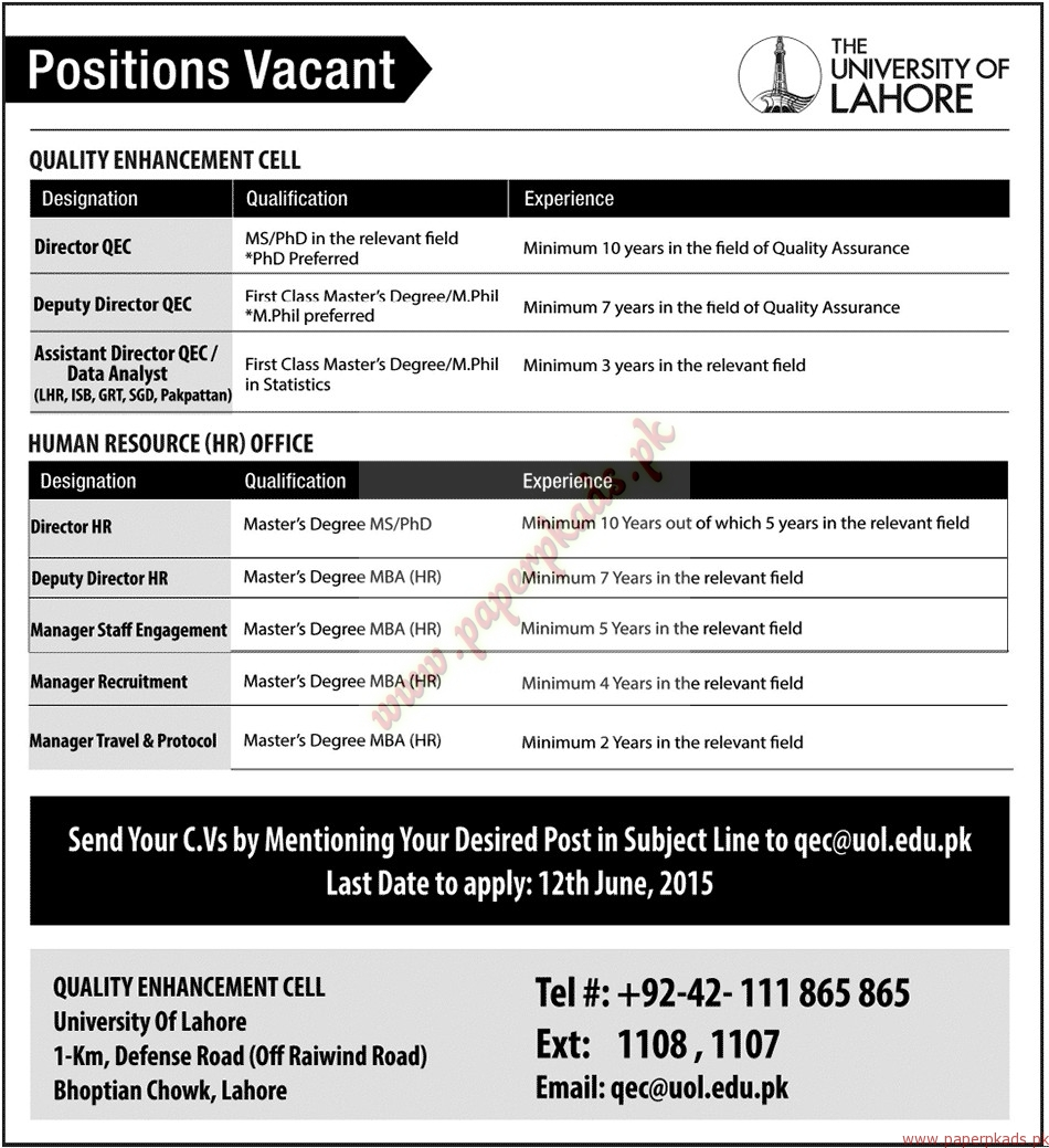 The University of Lahore Jobs - Jang Jobs ads 07 June 2015