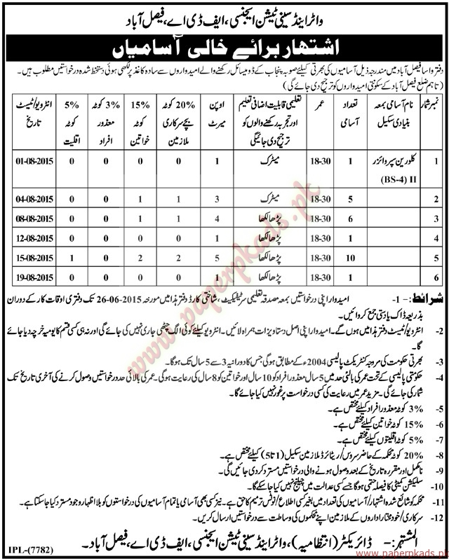 Water and Sanitation Agency Jobs - Nawaiwaqt Jobs ads 09 June 2015