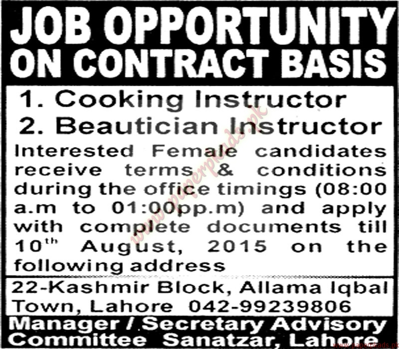 cooking instructors and beauticians instructors required the nation jobs ads 26 july 2015