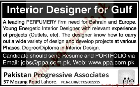 Interior Designers For Gulf Jobs Jang Jobs Ads 05 July 2015 Paperpk