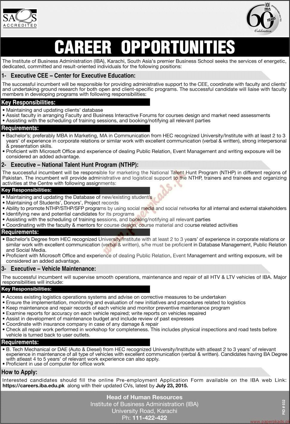 the institute of business administration karachi jobs jang jobs the institute of business administration karachi jobs jang jobs ads 05 2015