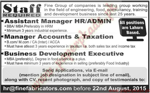 Assistant Manager Hr And Admin Manager Accounts And Taxation