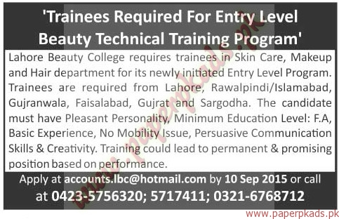 lahore beauty college jobs the news jobs ads 30 august 2015 paperpk