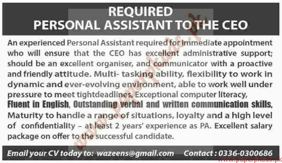 personal assistant to the ceo jobs - dawn jobs ads 23 august 2015, Human Body