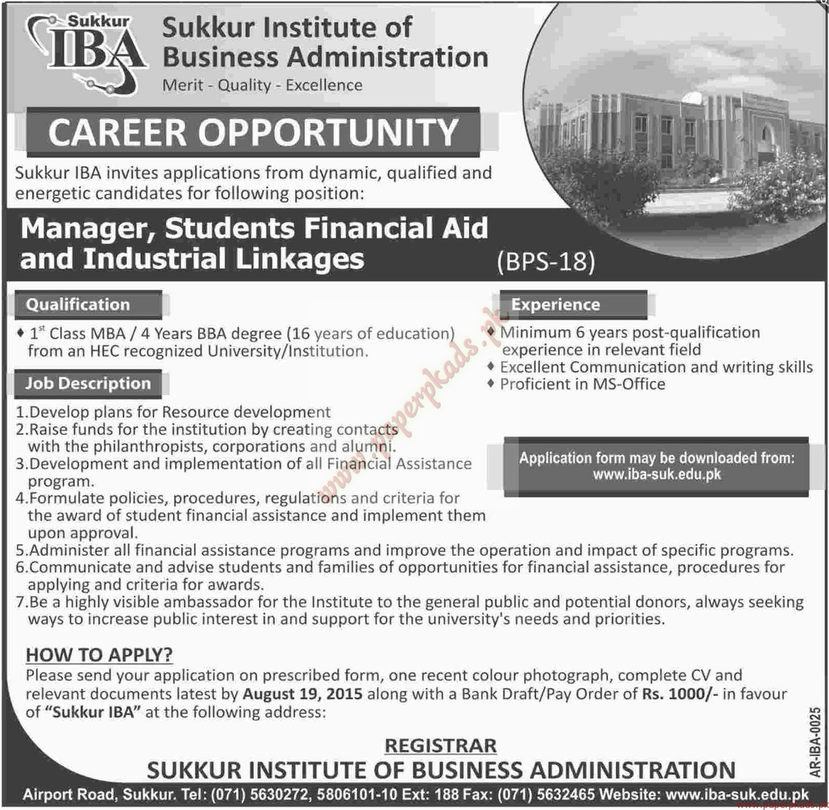 sukkur institute of business administration jobs dawn jobs ads 04 august 2015 - Job Description Of Business Administration