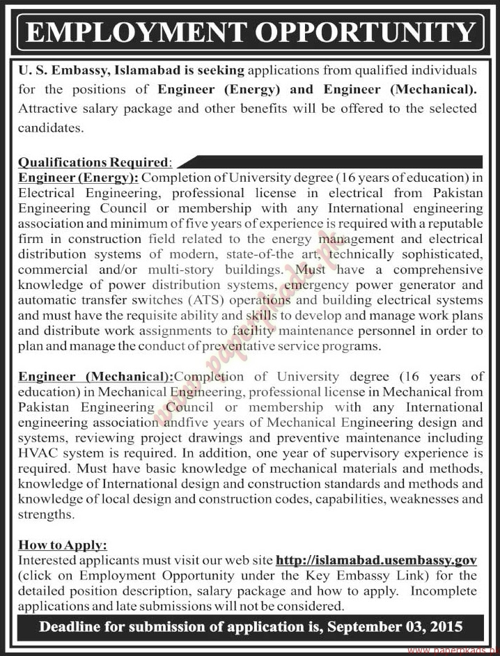 Us embassy islamabad jobs the news jobs ads 23 august for Consulate jobs