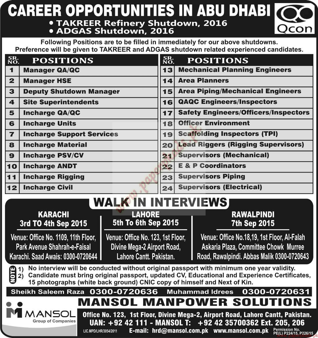 manager qa qc deputy manager area planners safety engineers manager qa qc deputy manager area planners safety engineers supervisors and other jobs express jobs ads 01 2015