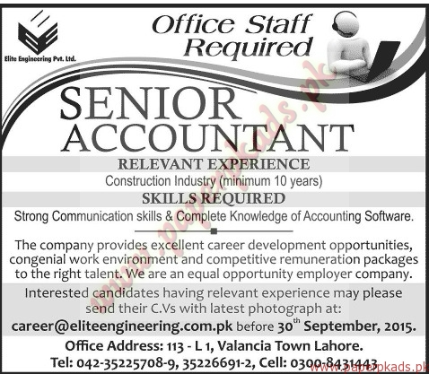 Senior Accountant Jobs  Jang Jobs Ads  September   Paperpk