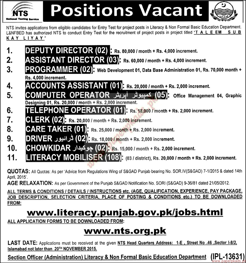 Deputy Director, Assistant Director, Programmer, Accounts Assistant And  Other Jobs U2013 Nawaiwaqt Jobs Ads 30 October 2015