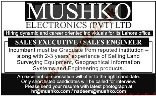 mushko electronics private limited jobs the news jobs ads 04 october 2015 - Electronics Sales Jobs