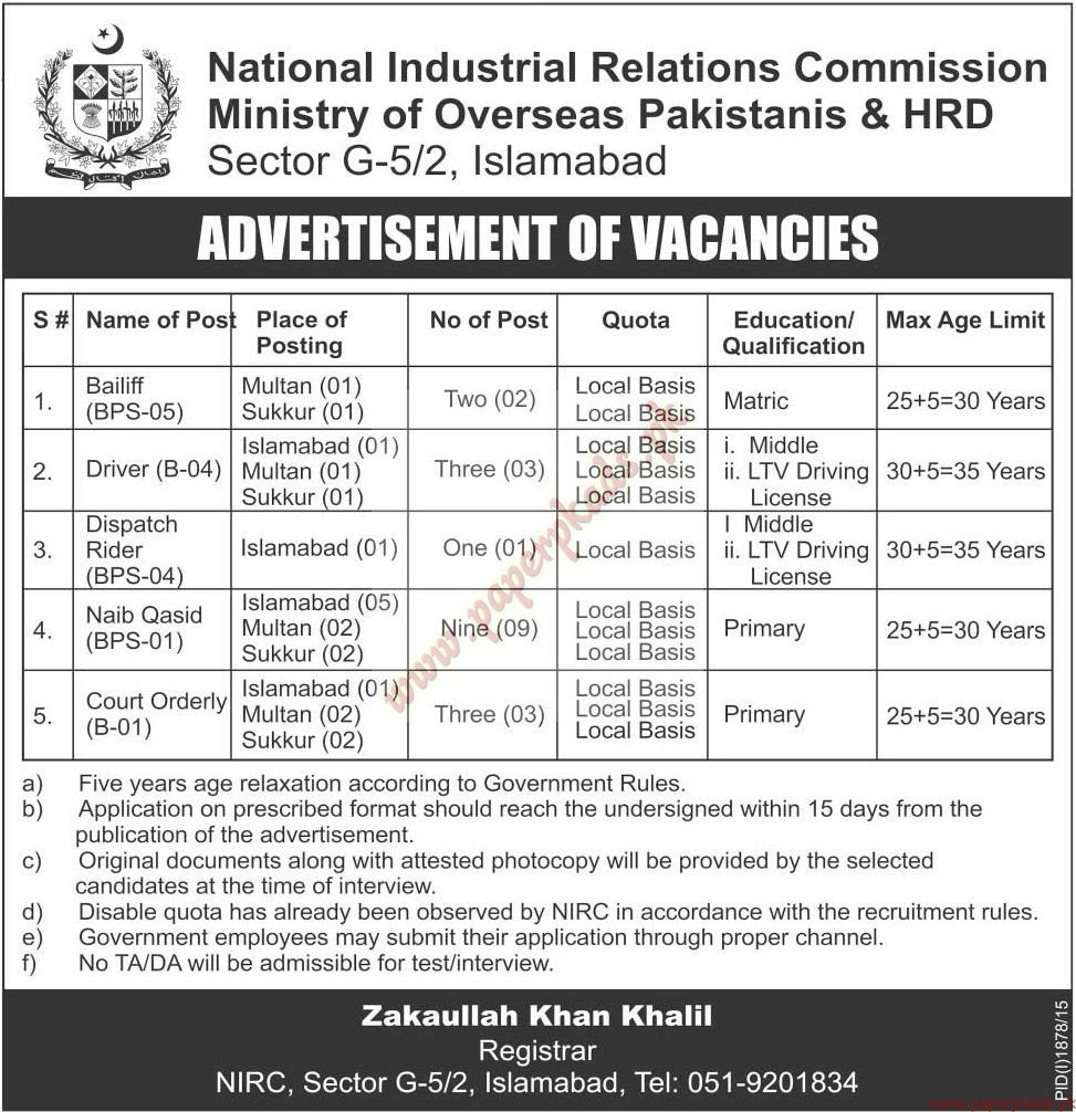 national industrial relations commission ministry of overseas national industrial relations commission ministry of overseas hrd jobs the news jobs ads 20 2015