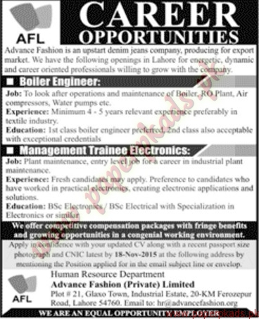 Advance Fashion Private Limited Jobs Jang Jobs Ads 08