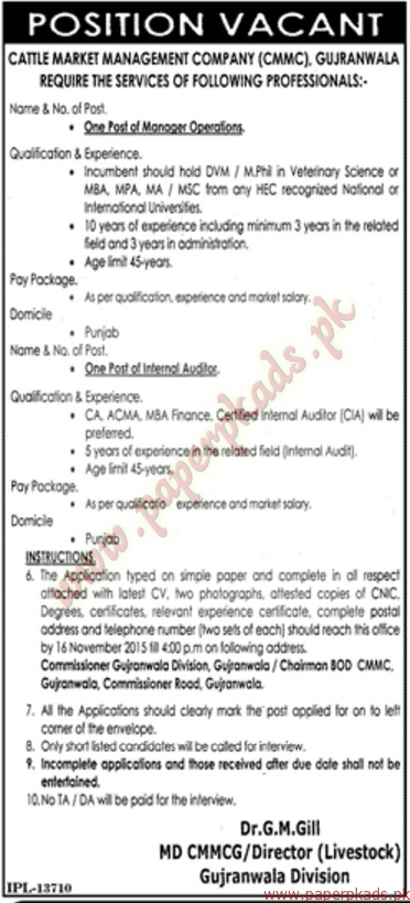 Cattle Market Management company Jobs - Jang Jobs ads 03 November 2015