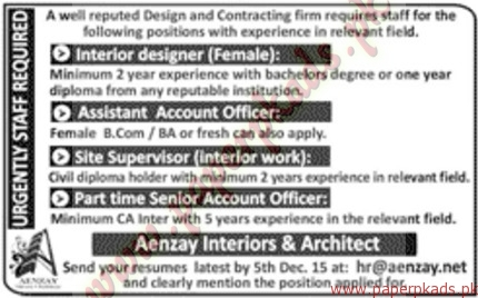 Interior Designer Assistant Account Officer Site Supervisors Part Time Senior Officers Jobs Jang Ads 29 November 2015