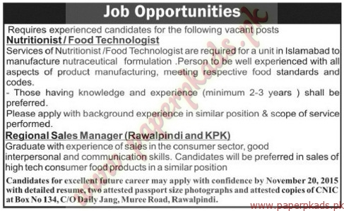 Nutritionist, Food Technologist, Regional Sales Managers And Other Jobs U2013  Jang Jobs Ads 08 November 2015 ...