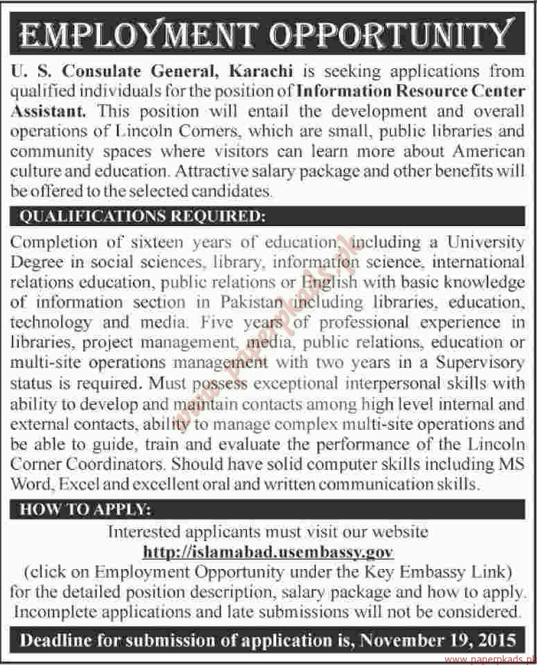 Us consulate general karachi jobs dawn jobs ads 08 for Consulate jobs