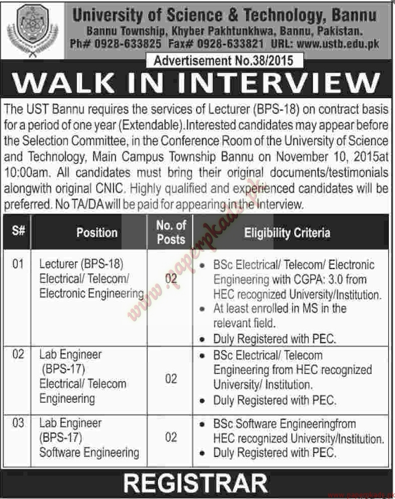 University Of Science And Technology Bannu Jobs Dawn