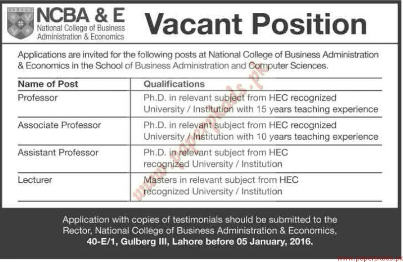 National College of Business Administration of Economics Jobs ...