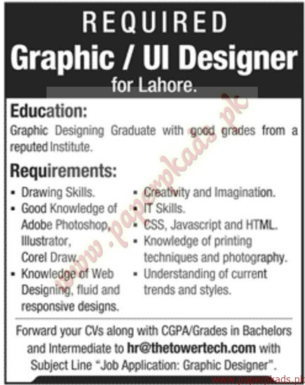 Graphic designers jobs in lahore jang jobs ads 17 january 2016 paperpk for Work from home fashion design jobs