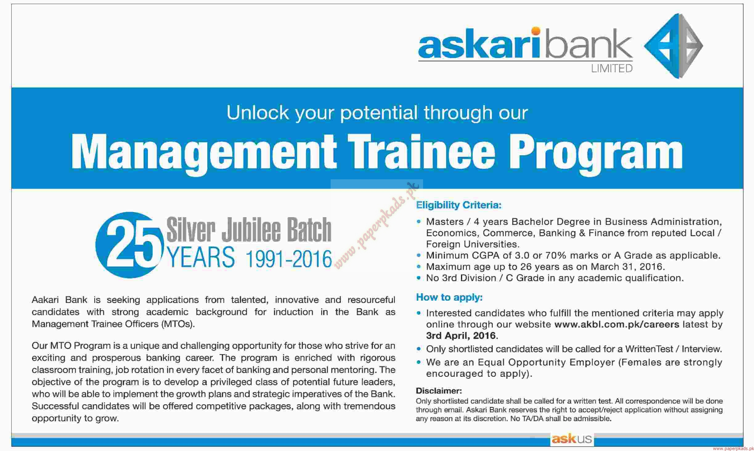 askari bank limited Jobs in askari bank 2018 in newspaper ads for freshers and experienced job seekers from paperpkcom.
