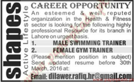 Male Swimming Trainer And Female Gym Trainer Required Jang Jobs