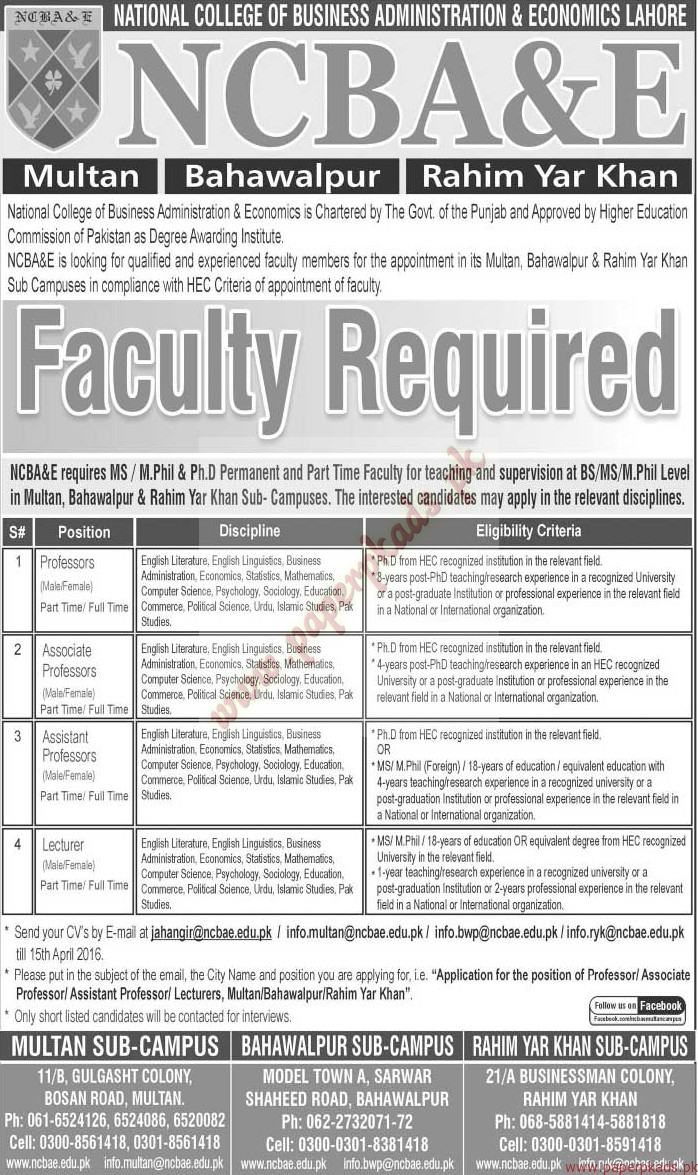 national college of business administration economics lahore national college of business administration economics lahore jobs jang jobs ads 08 2016