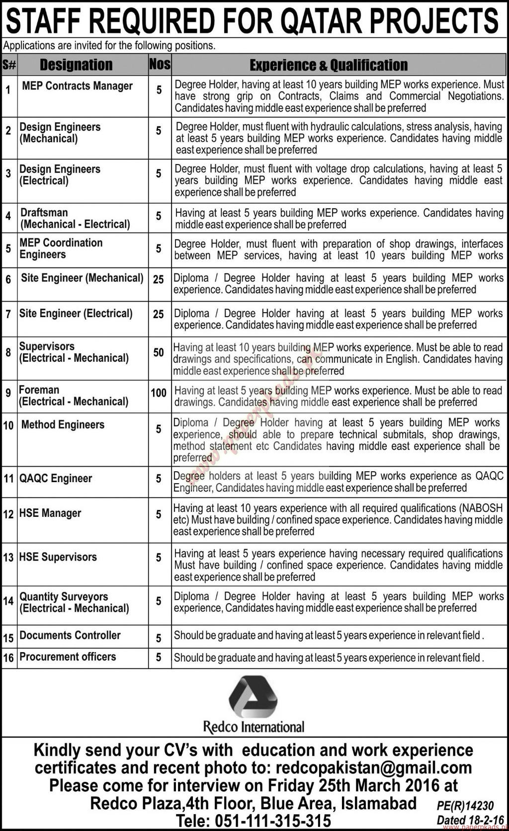 Redco International Jobs - Express Jobs ads 22 March 2016 - PaperPk