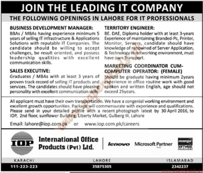 International Office Products Private Limited Jobs U2013 Jang Jobs Ads 17 April  2016