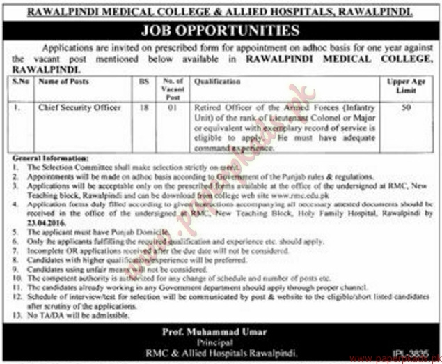 Rawalpindi Medical College & Allied Hospital Rawalpindi Jobs ... on dg khan medical college, new york city medical college, army medical college, king edward medical college, sialkot medical college, azad kashmir medical college, nust medical college, allama iqbal medical college, gujranwala medical college, karachi medical college, peshawar medical college, khyber medical college, nishtar medical college, punjab medical college, sindh medical college, dhaka medical college, bolan medical college, wah medical college, ayub medical college, dera ghazi khan medical college,