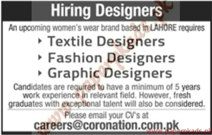 Textile Designers Fashion Designers Graphic Designers And Other Jobs Jang Jobs Ads 10 April 2016
