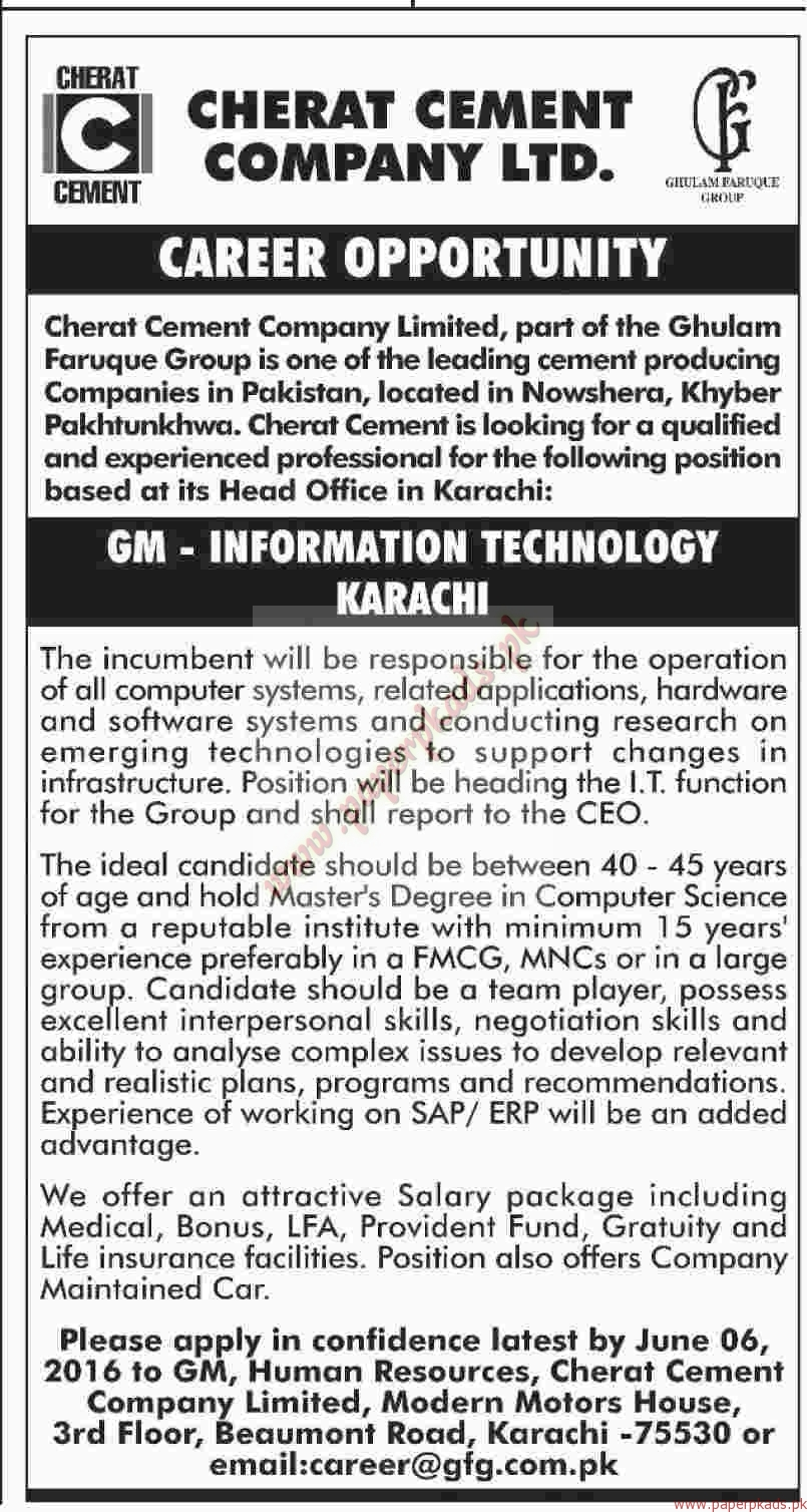 Cherat cement Company Limited Jobs - Dawn Jobs ads 22 May 2016 - PaperPk