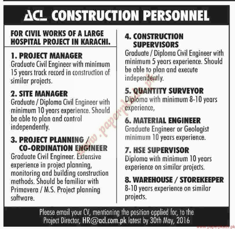 Construction Personnel Required Dawn Jobs Ads 22 May