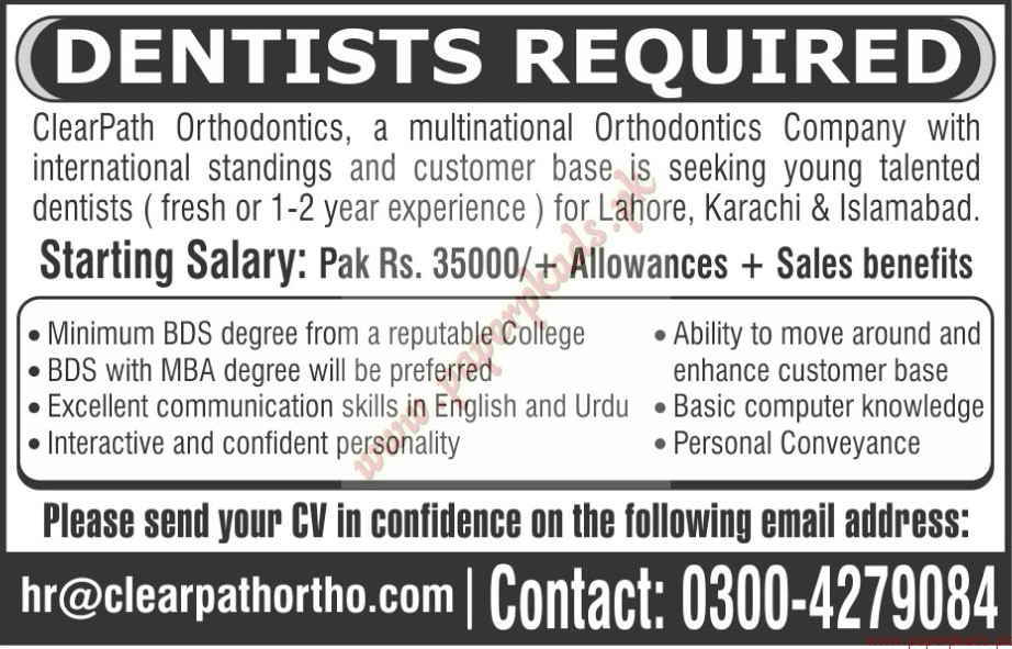 Dentists Required The News Jobs Ads 08 May 2016 Paperpk