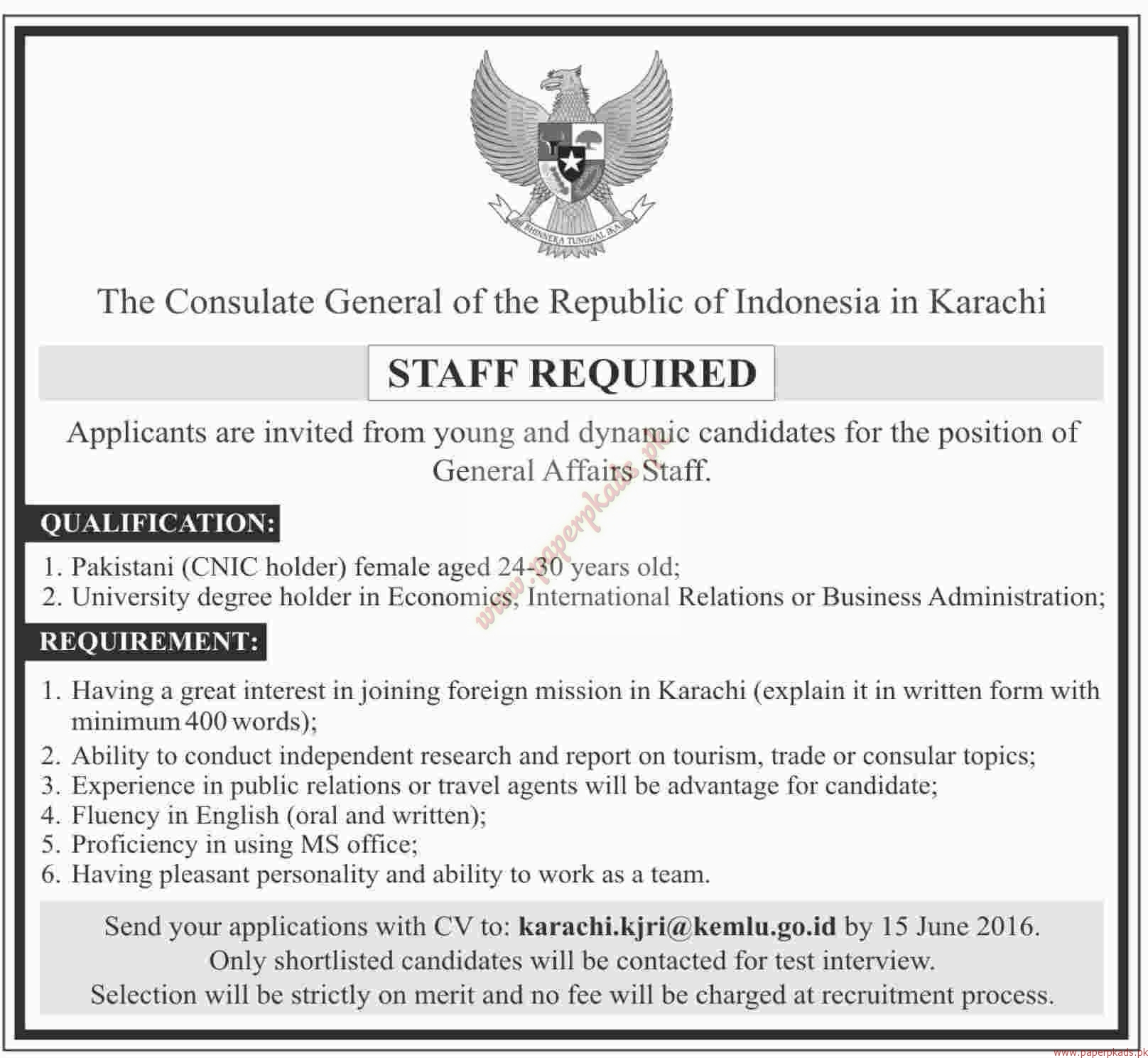 The consulate general of the republic of indonesia in for Consulate jobs